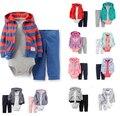 2016 New kids корпус наборы мальчики кардиган с капюшоном лиса стиль 3 шт. baby boy девушка одежда набор новорожденных bebes одежду розничная