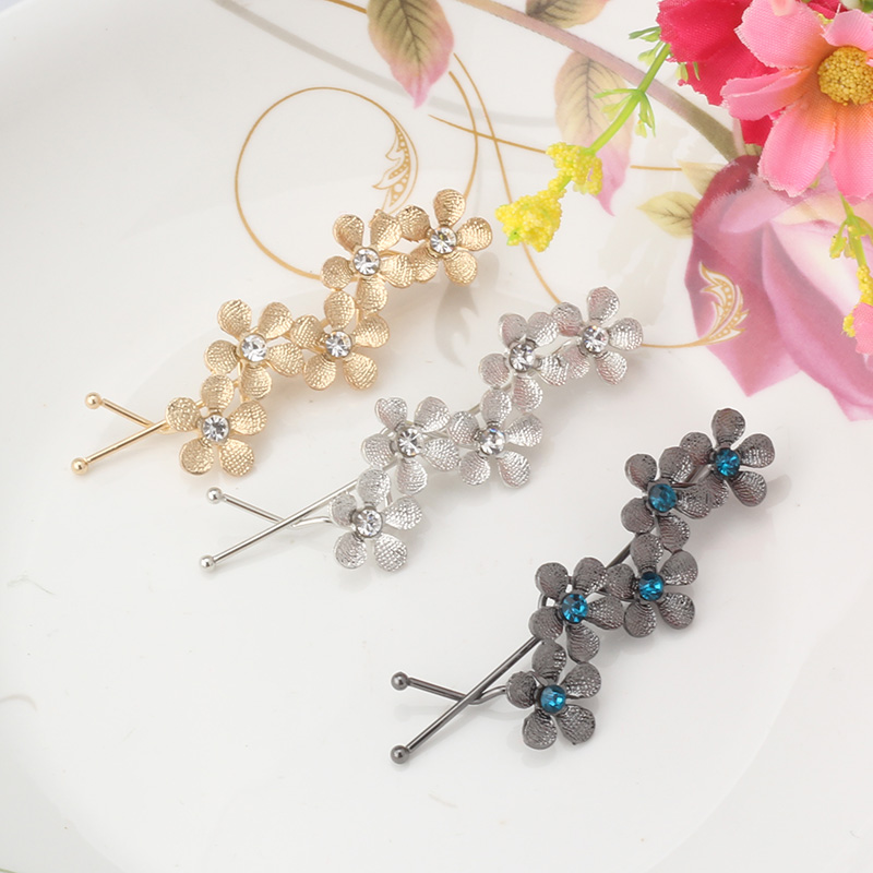 Pure Color Alloy Flower Rhinestone Headwear Hair Clip Crystal Plum Blossom Hairp
