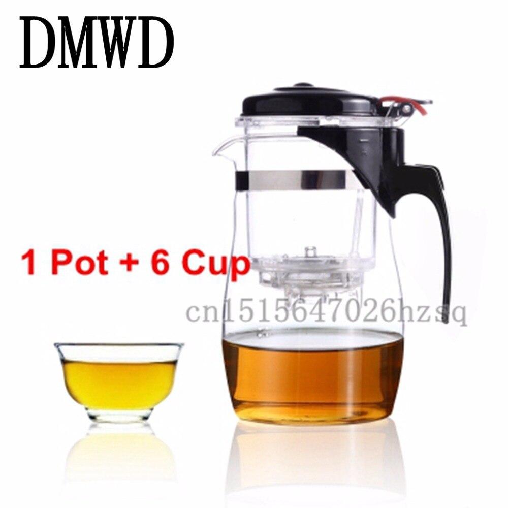 Фото DMWD 3 Kinds Tea Pot Glass Teapot Teaset Integrative Convenient Office Tea Set simple tea kettle Heat-resistance Teapot kitchen