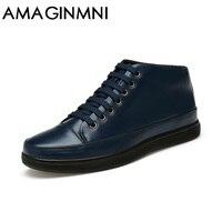 AMAGINMNI 2017 Hot Men Shoes Fashion Warm Fur Winter Men Boots Autumn Leather Footwear For Man