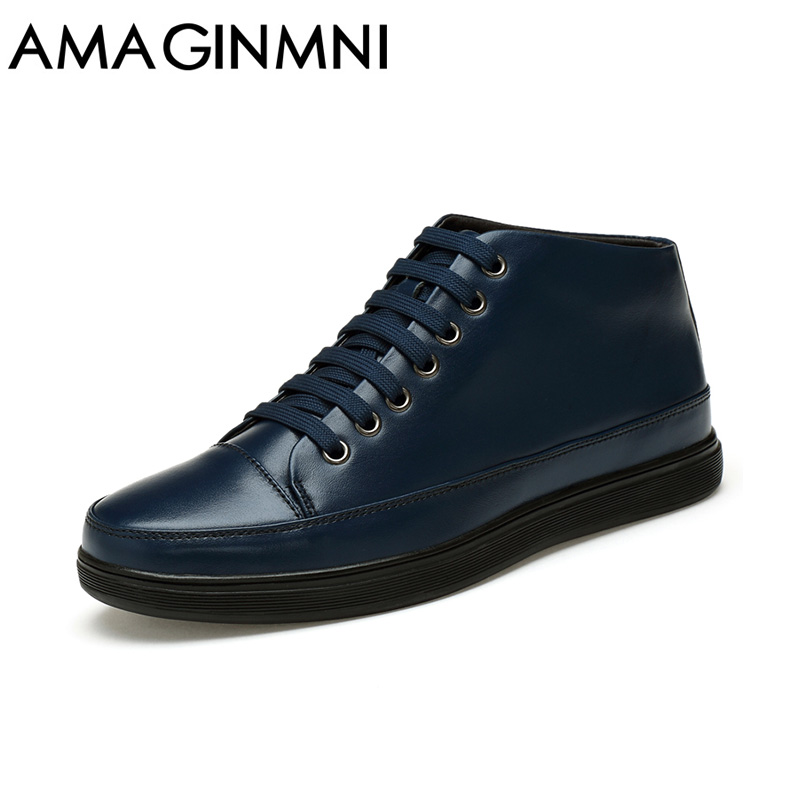 AMAGINMNI 2018 Hot Men Shoes Fashion Warm Fur Winter Men Boots Autumn Leather Footwear For Man New High Top Casual Shoes Men 2016 new winter men s casual shoes boat shoes for men black brown fur shoes lazy autumn large size shoes warm men in stock