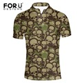 FORUDESIGNS 2017 Summer Mens Casual Polo Shirts Men Brand Short Polo Shirt Army Green Skull Cool Polo Homme for Men Tops XXXL