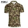 Forudesigns 2017 de verano para hombre casual polo camisas de los hombres cortos de la marca de polo camisa verde del ejército cráneo fresco polo homme para hombre tops xxxl