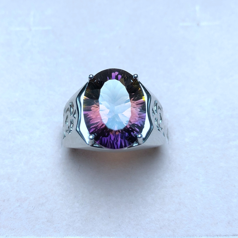 Natural ametrine ring beautiful color two color fire 925 silver men s ring customizable size number