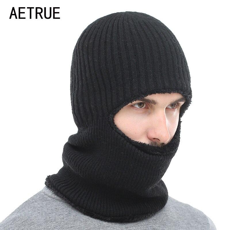 AETRUE Winter Hat Knitted Hat Men Women Mask Scarf Skullies Beanies Hats For Men Warm Balaclava Soft Fur Wool Bonnet Cap Hats