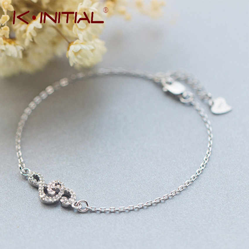 Kinitial 1Pcs 925 Sterling Silver Music Symbol Bracelets for Women CZ Crystal Music Note Bracelet Fashion Jewelry Cuff Bangle