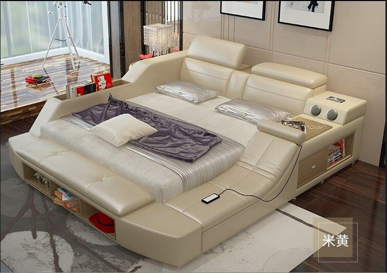 Genuine leather bed frame Soft Beds massager storage safe speaker LED light Bedroom cama muebles de dormitorio / camas quarto 1