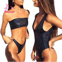 Pacento New 2018 Female Swimsuit Bikini Set Black Leather shiny Sequins Swimsuit Thong Swimwear Women Bling Trikini Biquini