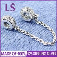 LS Hochwertigem Echt 925 Silber Pflastern Inspiration Sicherheitskette Fit Original bracelete Charme Pulseira Encantos.100 % Edlen Schmuck