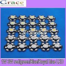 """חם 10 יחידות 1 W 3 W מתח גבוה חם לבן/מגניב לבן לבן/טבעי לבן/אדום/ירוק/כחול/רויאל בלו LED עם pcb כוכב 20 מ""""מ"""