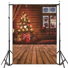 5x7FT Photography Background for photo Studio Props Christmas Theme Xmas Tree Window Gift Board Backdrop 2.1m x 1.5m