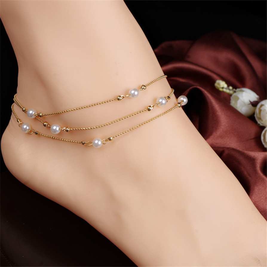 1 color Anklets 2018 Hot Fashion Lady Beach Multi Tassel Sequins Bare Anklet Chain Foot Jewelry JC16
