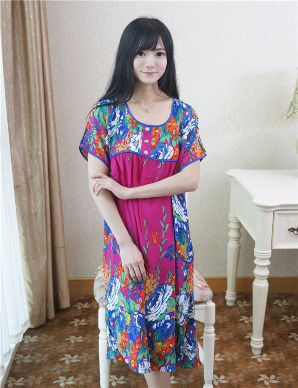 Hot Pink Womens Summer Casual Bathrobe Gown Hot Sale Short Sleeve Print Robe Dress Casual Sleepwear Nightshirt One Size A-126