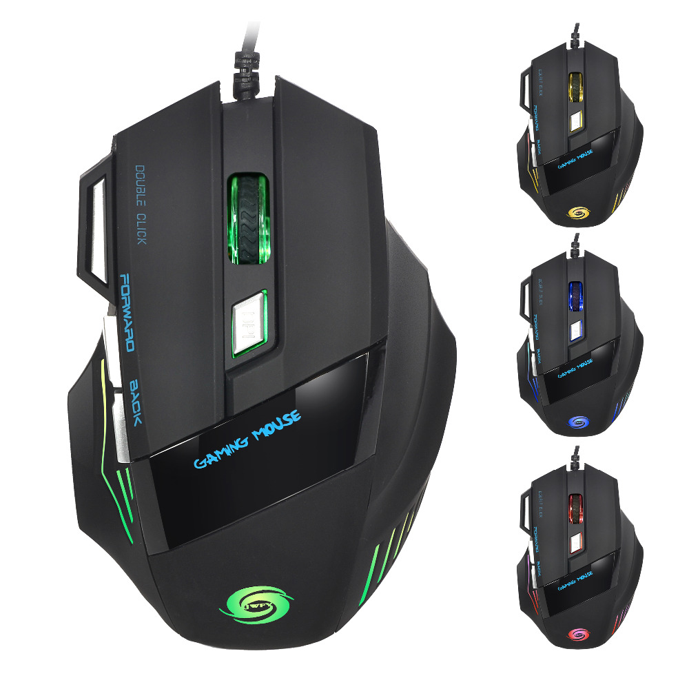 5500 DPI Gaming Mouse 7 Buttons color LED USB Optical Wired For Pro Gamer Hot AM