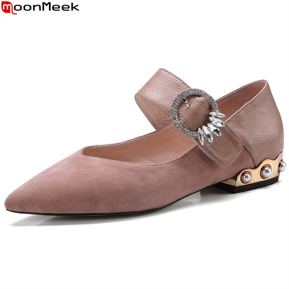MoonMeek black pink fashion spring autumn women pumps kid suede ladies shoes pointed toe buckle square heel sweet low heel shoes star pointed toe pearl latest bow slip on flats beautiful ladies shoes suede black bee 2017 women spring autumn european fashion