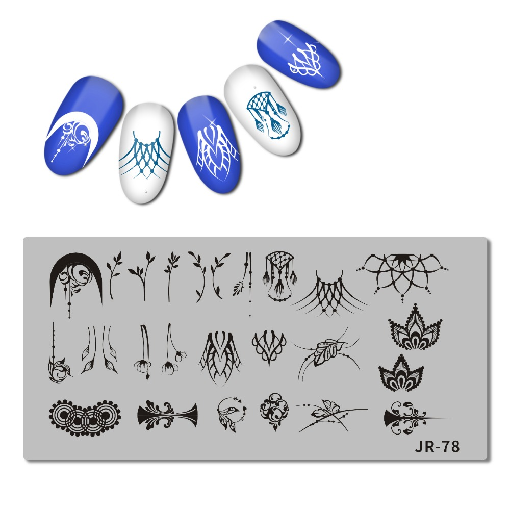 Image 2 - 2018 Stainless Steel Nail Stamping Plate Template Swirl Flower Pattern Dancer Flame Anchor Candle holder Nail Tool JR071 80-in Nail Art Templates from Beauty & Health