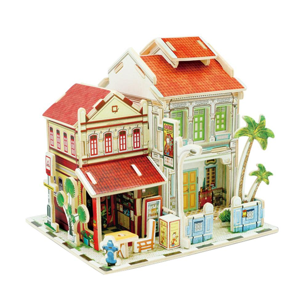Puzzles World Sights 3d Wooden House Puzzle South Southeast Asia Series Childrens Educational Puzzle Toy Last Style Puzzles & Games