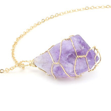 2019 purple stone necklace women handmade ladies jewelry pendant necklaces gilding link chain amethysts long