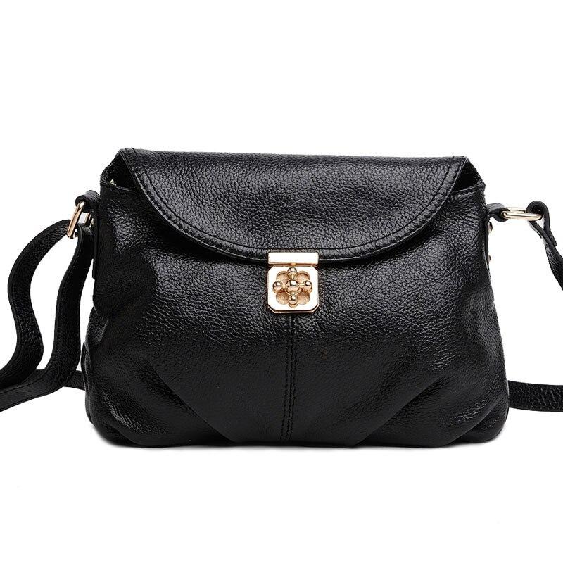 2017 Ruched Folding Flap Bag Causal Women's Crossbody Bag 100% Genuine Leather Shoulder Bag Lock Design Bag for Mid-age Lady chanel boy flap bag