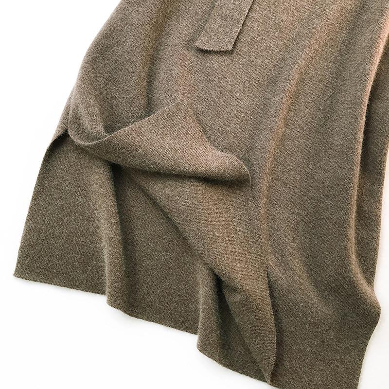 344 water velvet knit skirt women 2018 autumn and winter new women's long section high waist bag hip split A skirts 17