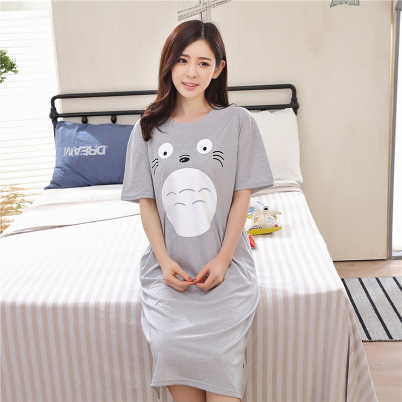 Bigsweety Cotton Blend Nightwear Casual Women Cartoon Printed   Nightgown   Summer Cute Nightdress Sleepwear Short Sleeve   Sleepshirt