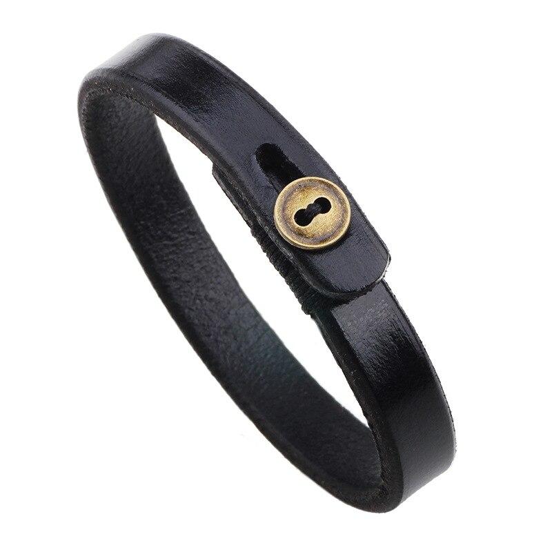 Mdiger Brand PU Leather Bracelets High Quality Leather Bracelets Mens Casual Personality Alloy Vintage Red & Black Bracelet