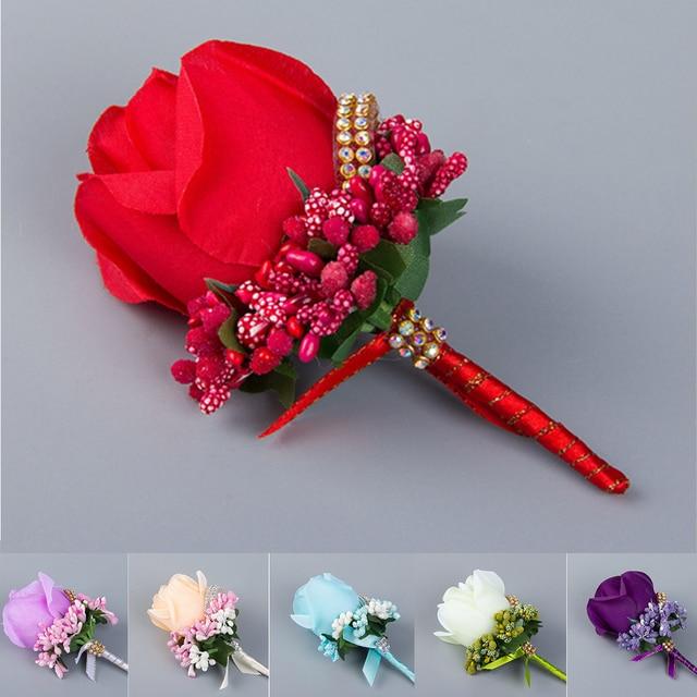 Schone Beste Ivory Red Mann Corsage Fur Groomsman Braut Silk Rose
