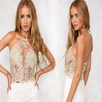 Elegant White Lace Crop Top Summer Beach Backless Short Halter Tops Sexy White Party Camis