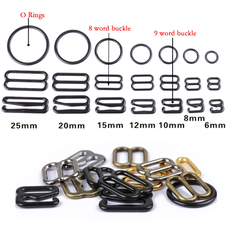 20pcs 6mm~25mm Metal/Plastic Bra Strap Adjustment Buckles Underwear Sliders Rings Clips For Lingerie Adjustment DIY Accessories