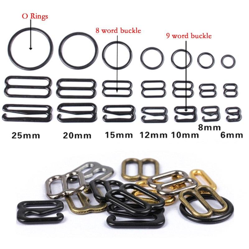 Black Bra Strap Adjusters 40 Sets=40 Rings+40 Slides 15 mm AccessoriesSolutions