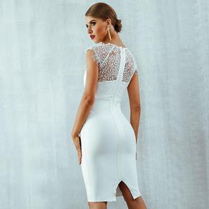 Image 4 - セレブイブニングパーティードレス白半袖レースエレガントなボディコンドレスの女性の新しい夏包帯ウェディング vestidos 女性のドレス