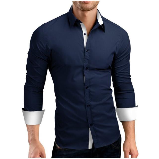 2017 Otoño Marca de Moda de Los Hombres Ropa Slim Fit Hombres de Manga Larga Camisas de Los Hombres Mezcla de Algodón Ocasional Del Remiendo Camisa Masculina