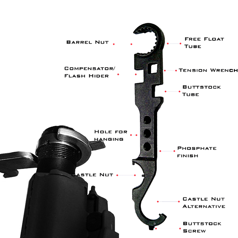 Gun Acessories AR15 <font><b>M4</b></font> M16 Combo Wrench Tool Castle Nut Wrench BarrelAccessories Wrench Buttstock <font><b>Tube</b></font> Tool Handguard image
