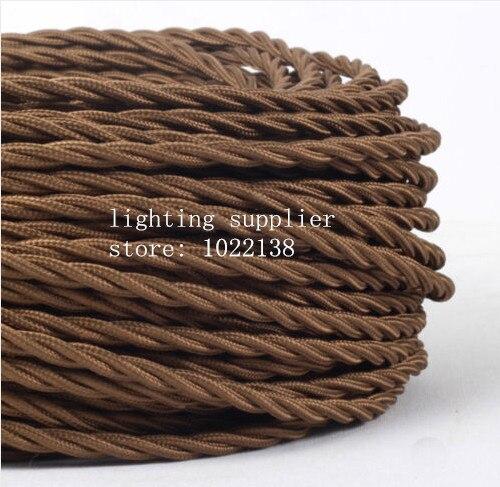 3 noyaux différentes couleurs tressé textile tissu câble 3*0.75mm tissu enduit silicone câble bricolage vintage pendentif lampe tissu fil - 4