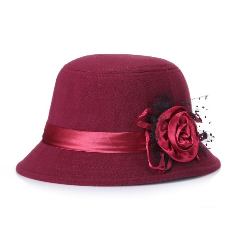 New Woolen Hat Fashion Fedoras Felt Hat Black Pink Flower Protect Ear Warm Bowler Winter Floppy Ladies Church Cloche Hats