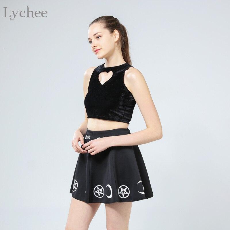 Lychee Harajuku Punk Rock Goth Summer Women Skirt Goth Witch Pentacle Moon Print Kawaii Waist Mini Skirt