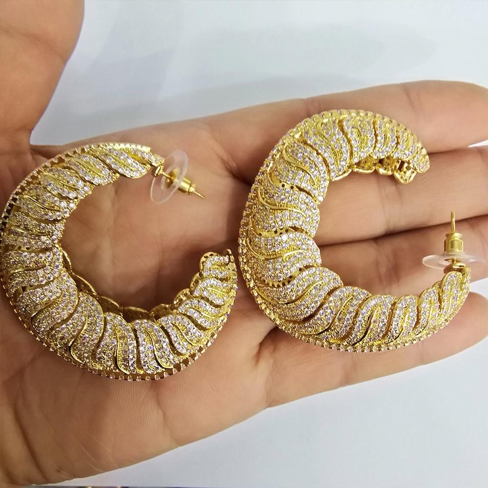 GODKI Luxury Snails AAA Cubic Zircon Statement Big Hoop Earrings For Women Wedding DUBAI Bridal Round