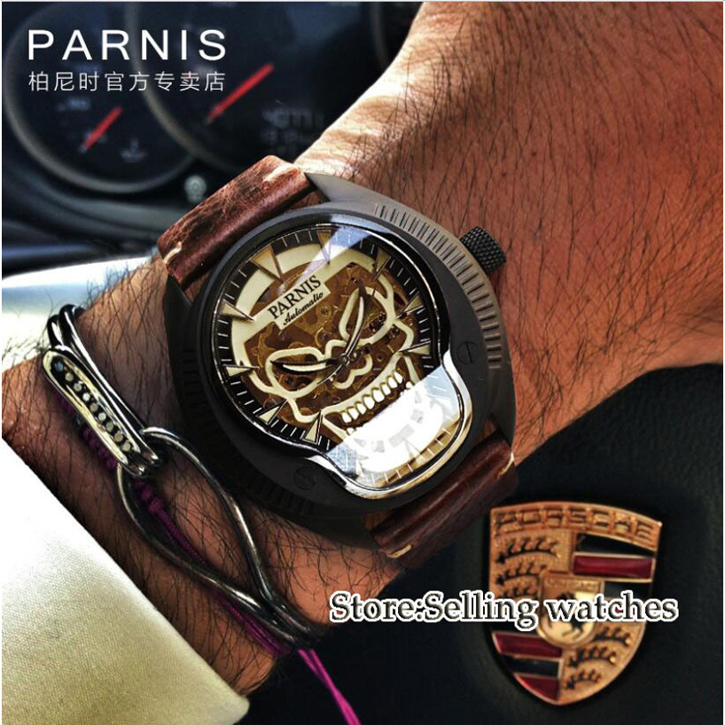 40mm Parnis skeleton dial Luminous marks Leather strap 2018 top brand Luxury Sapphire glass Miyota automatic Movement mens watch 40mm parnis white dial vintage automatic movement mens watch p25