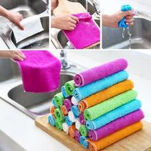New Kitchen Cleaning Wash Cloth Magic Hand Towel Dishcloth Microfiber Dishrag Duster Anti-grease Wiping Rags Washing Towel недорого