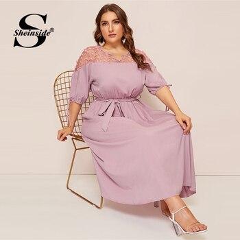 Sheinside Plus Size V Neck Contrast Mesh Dress Women Elegant Cuff Lace Up Belted Dresses 2019 Summer Half Sleeve Midi Dress 5