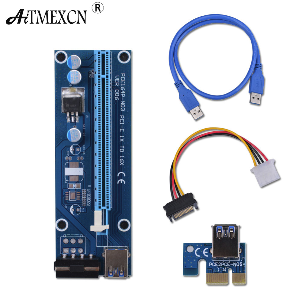 Pcie PCI-E PCI Express Riser Card 1x to 16x USB 3.0 Data Cable SATA to 4Pin IDE Molex Power Supply for BTC Miner Machine Mining pci 6503 data acquisition card 100