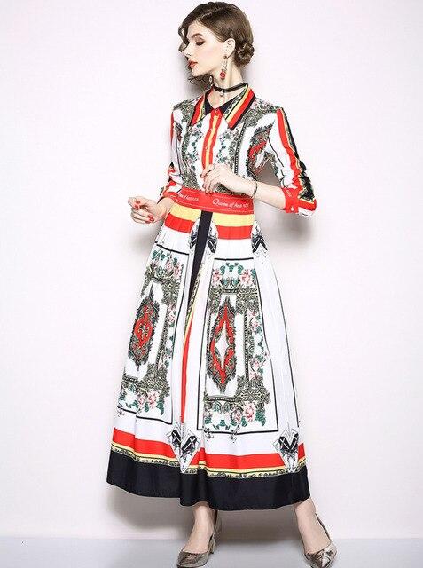100% authentique 9ad85 f3cf9 Femmes piste à manches longues chemise automne Robe élégante Femme Ete 2018  fleur imprimer anges lettres bouton revers Maxi