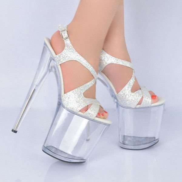 20cm Ultra high heels platform lady formal dress women s shoes sandals 8  inch silver rome style dance shoes Crystal cebd8e6d2b1f
