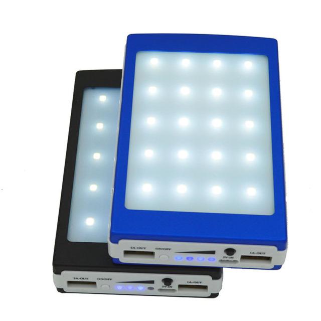 50 unids 20000 mah Powerbank Banco de la Energía Solar Con Lámpara de Camping 2 USB portátil Cargador de Batería para el Teléfono de la Tableta Construida en 20 Led