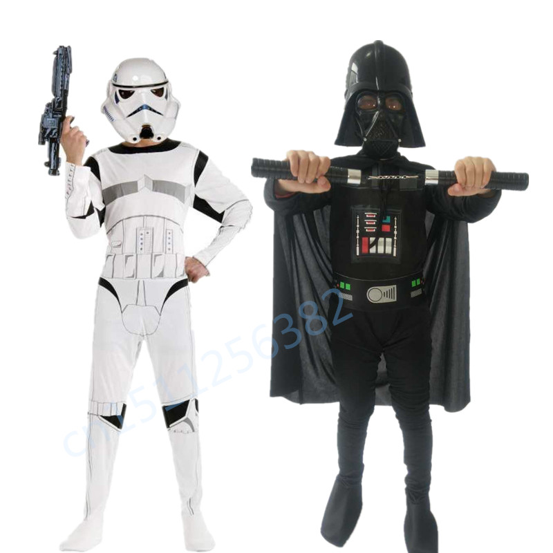 Hot Movie Cosplay Costume For Boys The Force Awakens Storm Troopers Darth Vader Halloween Costume For Kids Party Dress