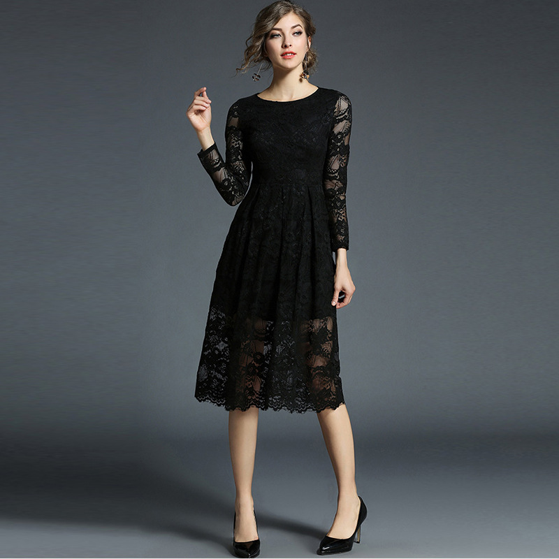 c787cf9f346 RENBANG Women Slim Embroidery Lace Ball Gown Dress 2018 Vintage Style Sexy  Mesh Night Out Party Dresses-in Dresses from Women s Clothing on  Aliexpress.com ...