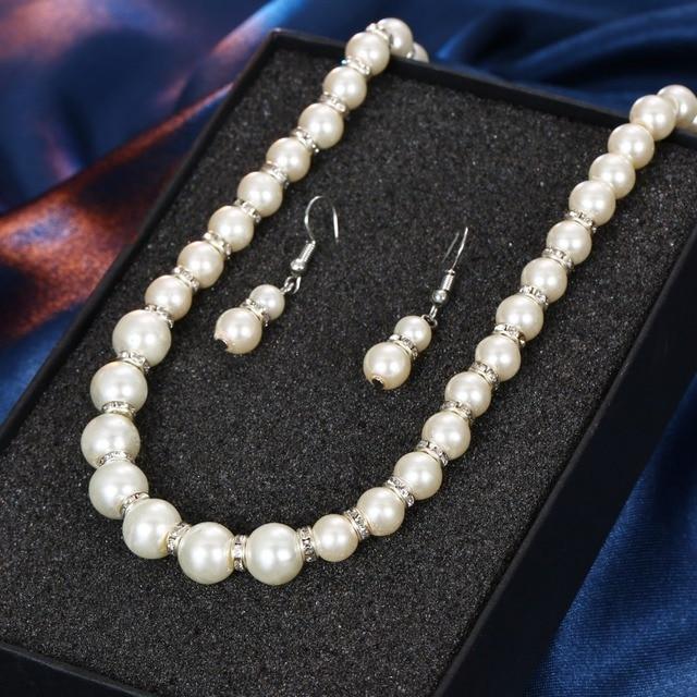 AILEND קסמי טרנדי סימולציה פרל תכשיטי סטים לנשים קריסטל כדור תליון שרשראות עגילי צמיד תכשיטי חתונה
