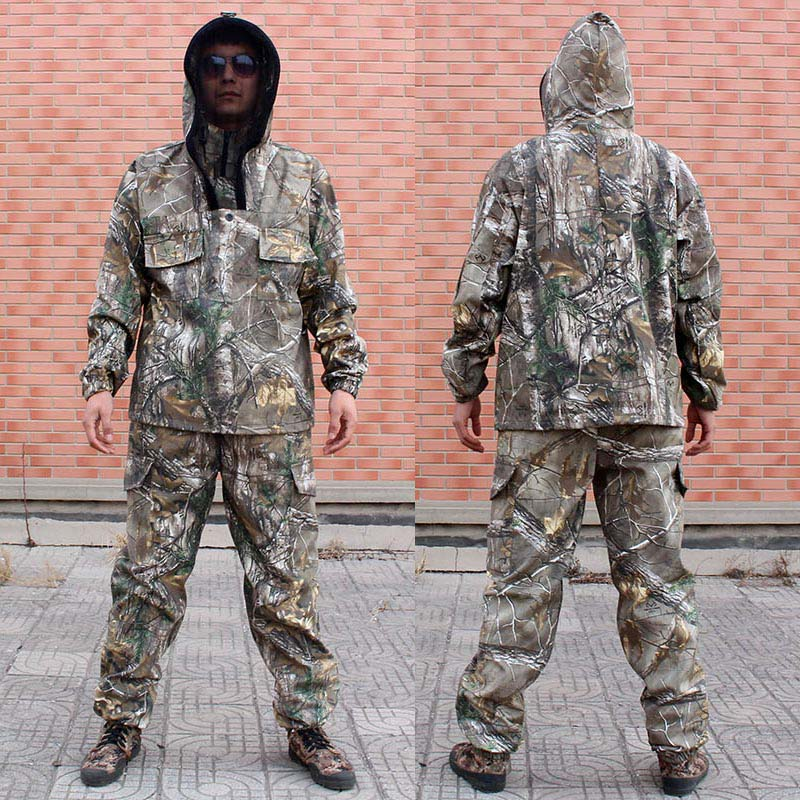 Men s Outdoor Camouflage Fishing Clothes Fishing Hoodie and Pants Men Hunting Clothes Fishing Clothing Camouflage