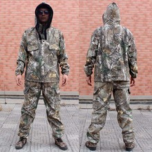 Mens Outdoor Camouflage Fishing Clothes Hoodie and Pants Men Hunting Clothing Wears