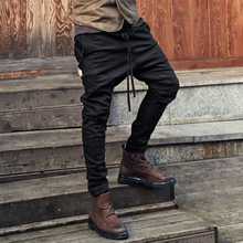 Casual Men Harem Pants Autumn Spring Loose Pants Trousers Drawstring Sashes Male Pants Cotton Blend Long